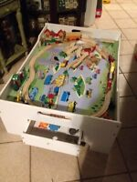 Wooden free standing train table