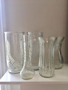 Collection of 5 Hoosier Glass Vases