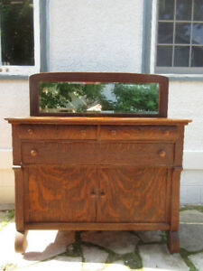 Attractive Antique (C1915)  Oak Sideboard with Mirror