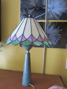 Stained glass art table lamp with granit base.