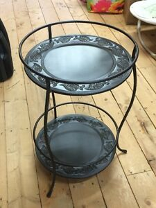 2-tiered, round decorative, metal table