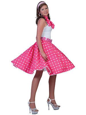 Ladies Polka Dot Rock N Roll Skirt & Scarf 50s 60s Fancy Dress 1950s New
