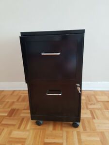 Black Filing Cabinet,  2 Drawers, With Wheels, Great Condition!