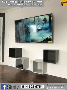 INSTALLATION TELEVISION 514-602-6754 tv wall mount au mur