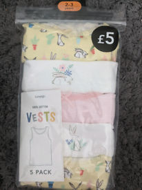 Girls vests age 2/3 brand new in packet