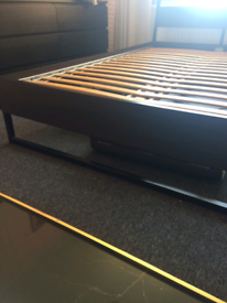 King size bed frame black/brown