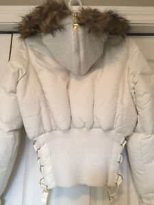 WHITE APPLE BOTTOM BOMBER JACKET WITH FUR & GOLD ACCENTS Windsor Region Ontario image 4