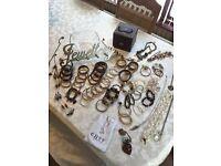 "Costume Jewellery (70 Pieces) + Jewellery Box & Wooden ""Jewellery"" Hanger"