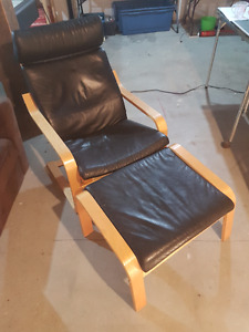 Leather Ikea Chair and stool