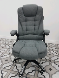 Executive Recline Extra Padded Office/Computer Chair (Grey Fabric)