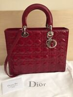 100% Authentic Lady Dior red patent Large **new**