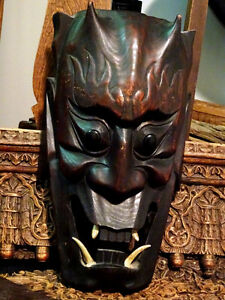 HORNED DEVIL MASK FANGED hand carved wood FABULOUS PIECE vintage Cambridge Kitchener Area image 4