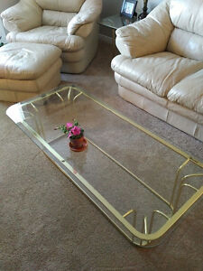 brass coffee table with 2 end tables