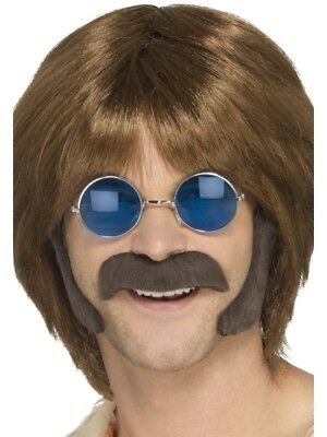Hippie Brown Porkchop Sideburns & Moustache Adult Mens Hippy 60s Fancy Dress - Porkchop Sideburns