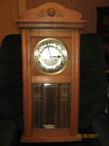 Solid Oak Chiming Wall Clock, Beveled Glass Door (1930)
