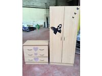 Bedroom Cupboard & Drawers Beech Wood