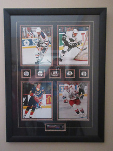 Framed Wayne Gretzky with pictures of the 4 teams he played for