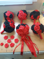 Red and Black Rose Wedding Bouquets and Boutonniers