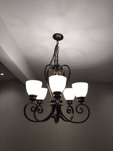 Bronze Finish with Opal Glass Chandelier