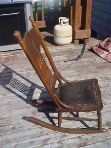 Antique Solid Wood Small Rocking Chair Seat Needs Repairs