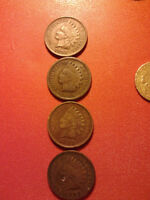 1-1894, 2- 1902 1-1907 indian head pennys