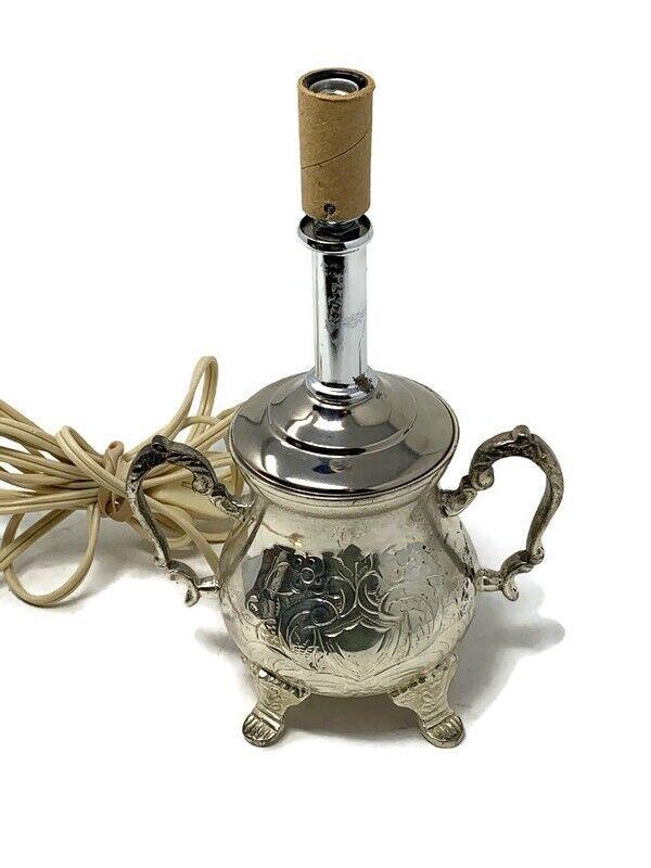 Silver Plate Sugar Bowl Lamp Works India Kichen Lighting Cottagecore Romantic