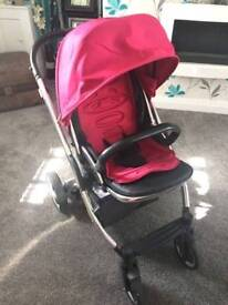 Red oyster pram and carrycot