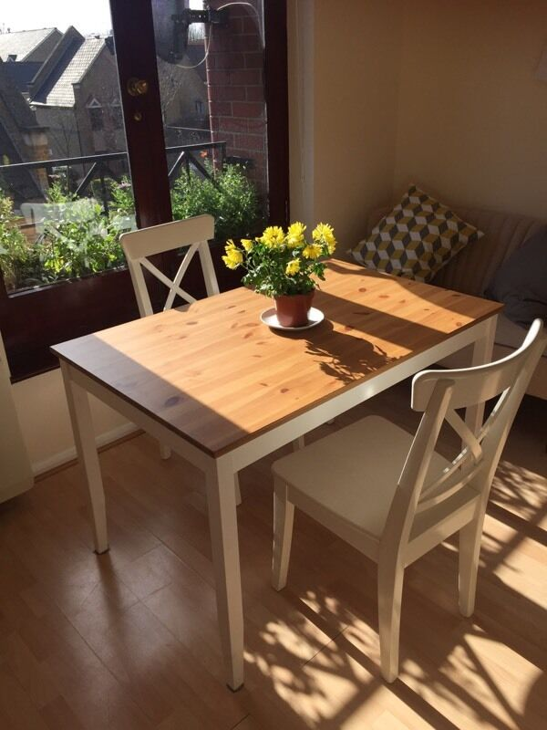 Drop Leaf Dining Table With Folding Chairs IKEA LERHAMN dining table and two INGOLF dining chairs | in Tower ...