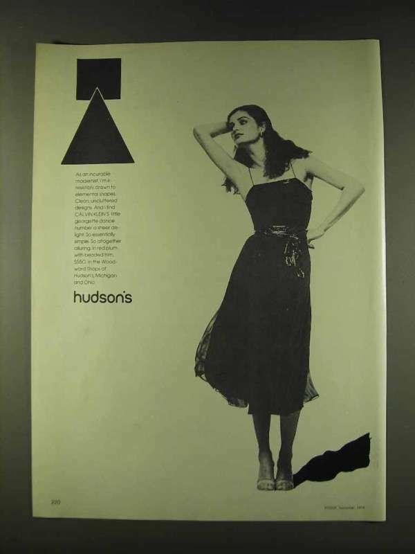 1979 Calvin Klein Georgette Dress Ad - Hudson