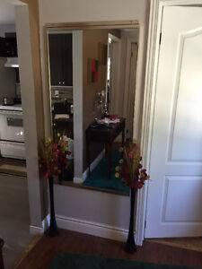 Tall gold brushed frame mirror and black glass vases Cambridge Kitchener Area image 2