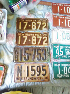 SELECTION OF EARLY NEW BRUNSWICK AUTO LICENCE PLATES $20 EACH