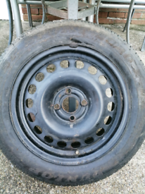 Steel wheel with tyre