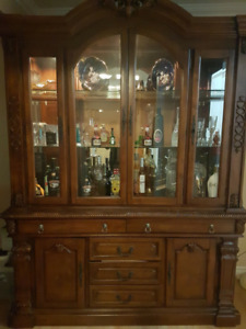 Rare find! Wooden buffet and hutch, carved