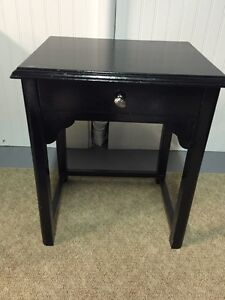 Black solid wood night stand