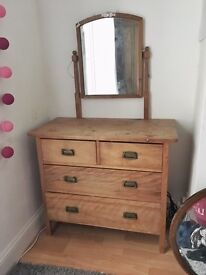 Antique Pine dressing table with drawers & mirroe