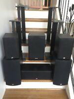 PSB Alpha speakers with powered Energy EXL S8 sub, plus stands