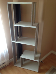 grey and white bookcase