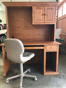 Oak Desk, Credenza and Chair