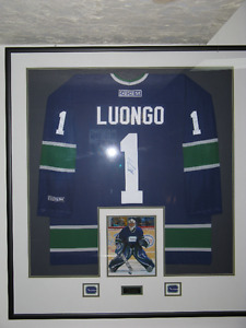 Signed and framed Roberto Luongo hocket jersey