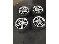 "Set of Four Genuine 18""Audi A6 S line alloys and tyres."