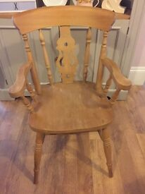 Solid farmhouse bare wood fiddle back carver dining chair