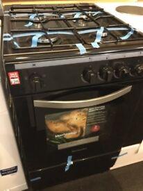 Black Gas Cooker slim 50cm wide