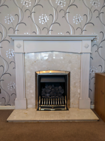 Marble gas fireplace and surround
