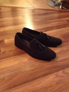 Asos suede tassel loafers navy blue size 11.5