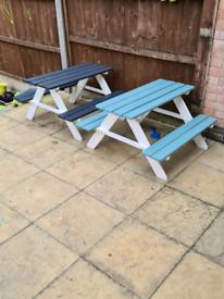 Childrens garden picnic bench