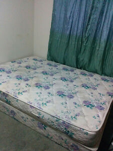 Free Queen size mattress and boxspring + metal railings