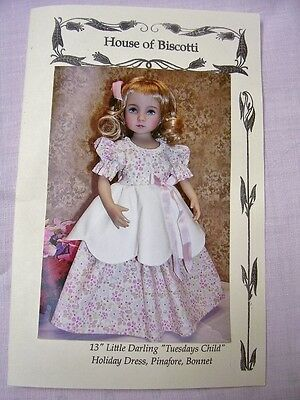 "13"" Effner Little Darling ""Tuesdays Child"" Pattern  Dress, Pinafore,  Hat"