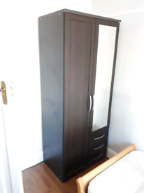 Back / Dark Wood wardrobe double