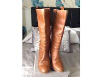 Long tan boots