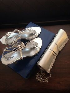 Silver shoes 9 and clutch